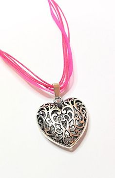 Pendant Necklace, Pink, Jewelry, Fashion, Heart, Silver, Colors, Gifts, Moda