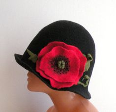 Handmade felted womens black hat with red poppy from by AgnesFelt, $50.00