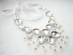 Crystal AB Rhinestone Illusion Statement Necklace Clear