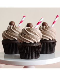 These chocolate malt cupcakes, from ThatWinsomeGirl, are reminiscent of the soda fountain favorite. Each cupcake is topped with a sky-high mound of chocolate malt buttercream, a chocolate malt ball, and a paper straw.