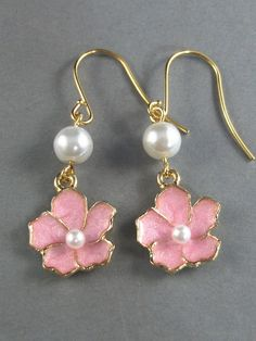 Ella,Cherry Blossom Earrings Handmade jewelery by valleygirldesigns on Etsy. $28.00