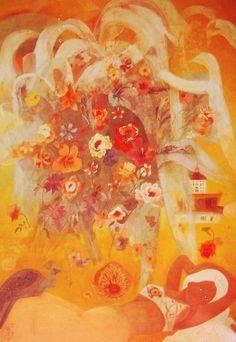 인간은 죽을 때가 가까워지면 태어나 자란 땅에 돌아가고 싶어진다고 했다. 설령 불행하고 어려웠던 유년기를 그곳에서 보낸 사람이라고 할지라도. <천경자(Chun Kyung-ja), 꽃무리, 1972>