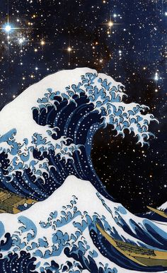 Hokusai & Blackout Curtain by dohshin Waves Wallpaper Iphone, Japanese Wallpaper Iphone, Trippy Wallpaper, Anime Scenery Wallpaper, Iphone Background Wallpaper, Retro Wallpaper, Aesthetic Iphone Wallpaper, Aesthetic Wallpapers, Windows Wallpaper