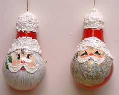 "Image detail for -Light-Bulb Santa"" Ornaments by Linda Faber"