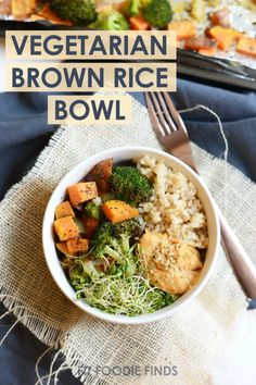 Vegetarian Brown Rice Bowl with roasted veggies, hummus, hemp seeds, and sprouts!