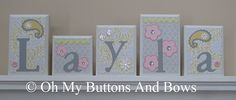 Hanging Name Blocks . Nursery Name Blocks . by OhMyButtonsAndBows