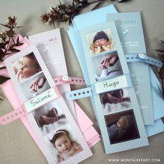 Faire part naissance bracelet sous la forme d'un marque page pour montrer la jolie bouille de votre bébé, ref garçon N20123 / ref fille N20122