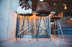 Spoinq barstools , industrial with cow-hide at Houtse Meer, Den Hout.