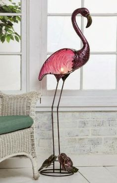 Cape Craftsmen Natures Glow Stained Glass and Painted Metal Flamingo Indoor/Outdoor Lamp Floor Lamps