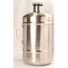 Another expensive stainless steel beer growler (2 L) with plastic handle and screw-down lid.
