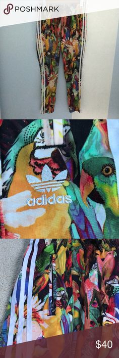 86a56cd45c0 Adidas Passaredo Colorful Bird Joggers Amazing, hardly worn Adidas  Passaredo Colorful Bird Joggers!! Ankle zip, classic white side stripes,  zip pockets, ...
