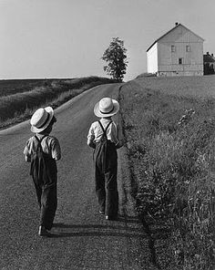 "Two Amish Boys, Lancaster, Pa. 1962..This gives new meaning to ""God's Country"" such humble people in this community"