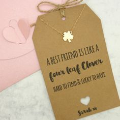 Personalised Clover Charm Friendship Necklace by MySparklyPie