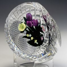 Ray Banford Paperweight - Red iris w flowers fancy cut basket on diamond cut base . 3 inches by 2.625, 1987., 14.8oz