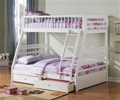 Bunk beds are like an adolescent status symbol, but the Acme Furniture Jason Twin over Full Bunk Bed with Underbed Drawer are going to please Mom. Twin Full Bunk Bed, Bunk Bed Sets, White Bunk Beds, Wood Bunk Beds, Modern Bunk Beds, Kids Bunk Beds, Loft Beds, Full Bed, Bedroom Modern