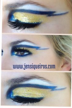 San Diego, Chargers, Football, makeup, gold and blue, glitter eyes, blue eyeliner, gold glitter