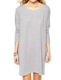 Allegra K Women's Round Neck Long Sleeves Cut Out Back Loose Fit Tunic Dress Gray (Size S / 4)