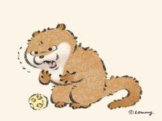 Otter Cartoon, Japan Art, Kawaii Art, Otters, Cute Baby Animals, Cute Babies, Teddy Bear, Wallpaper, Illustrations
