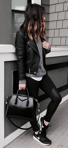 51 Stunning Casual Fall Outfit with Sneakers - Fall Shirts - Ideas of Fall Shirts Fall Shirts for sales. - 51 Stunning Casual Fall Outfit with Sneakers Outfit Outfit Outfits Leggins, Leather Jacket Outfits, Black Jacket Outfit, Dress Black, Grey Outfit, Biker Jacket Outfit Women, Leather Leggings Outfit, Leather Jacket Styles, Black On Black Outfits