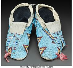 SIOUX BEADED HIDE MOCCASINS. c. 1890