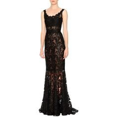 Dolce & Gabbana Sleeveless Round-Neck Lace Gown ($7,875) ❤ liked on Polyvore featuring dresses, gowns, black, black lace ball gown, embroidered dress, lace dress, lace gown and black ball gown