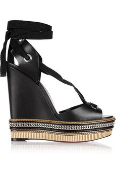 Christian Louboutin Tribuli 140 chain-trimmed leather wedge sandals | NET-A-PORTER