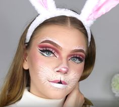 Looking for for ideas for your Halloween make-up? Browse around this website for unique Halloween makeup looks. Bunny Halloween Makeup, Makeup Clown, Bunny Makeup, Unique Halloween Makeup, Halloween Look, Costume Makeup, White Rabbit Makeup, Doll Makeup, Vintage Halloween