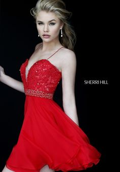 b5efe37fe6 11307 - SHERRI HILL red Homecoming dress Sherri Hill Homecoming Dresses