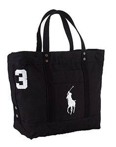 6c184da054 Polo Ralph Lauren Cotton Canvas Big Pony Zip Tote Bag (BLACK