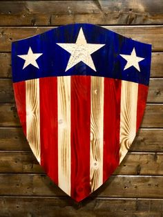 Captain America wood shield First Avenger wooden shield Cool Woodworking Projects, Diy Wood Projects, Wood Crafts, Pallet Crafts, Woodworking Shop, Art Projects, Diy Crafts, Wooden American Flag, Wooden Flag