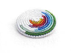 Large Round Brooch Rainbow Jewelry Bead by BeadworkAndCoe on Etsy