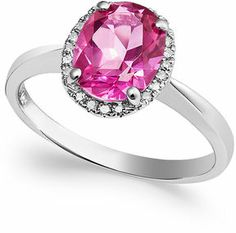 14k White Gold Pink Topaz (2 ct. t.w.) and Diamond Accent Ring on shopstyle.com