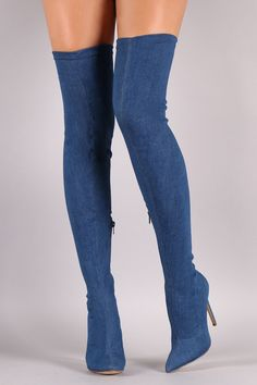 These over-the-knee boots feature a fabric denim upper and thin stiletto denim covered heel. Finished with a cushioned insole, and partial side zipper closure for easy on/off. Material: Denim Fabric (