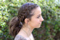 A short hairstyle!  Love it  #hairstyle #hairstyles #shorthair #braid #ponytail #cutegirlshairstyles #CGHdutchaccentpony #braids