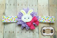 Purple Shabby Flower Spring Bunny Headband by CountryQTBowtique
