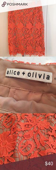 "Alice + Olivia pencil skirt Alice + Olivia crochet skirt.  Knee length.  Worn 2-3 times.  No damage. I'm 5""4 and it comes to the end of my knee. Alice + Olivia Skirts Pencil"
