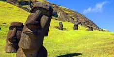 Easter Island sits in the south Pacific, directly west of Chile, and is known for the hundreds of enormous carved heads that are scattered all over the Easter Island Moai, Easter Island Statues, Poseidon Tattoo, Chile, Greek Statues, Head Statue, Vacation Places, South Pacific, Beautiful World