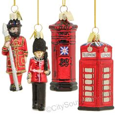 Glass London Icons Christmas Ornaments featuring British Phonebooth, British Postbox and royal guards. (http://www.nycwebstore.com/glass-london-icons-ornament-gift-set/) #nycwebstore #londonornaments #christmasornaments
