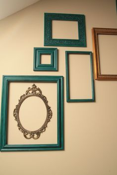empty frame gallery - great idea for a large empty wall, would look great in all the same color, in coordinating colors, or a bunch of super bright colors