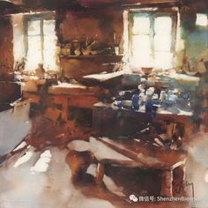 Atelier by Marc Folly 48 x Watercolor Architecture, Watercolor Landscape, Watercolor And Ink, Watercolor Paintings, Watercolours, Kitsch, Images D'art, Art Pictures, Photos
