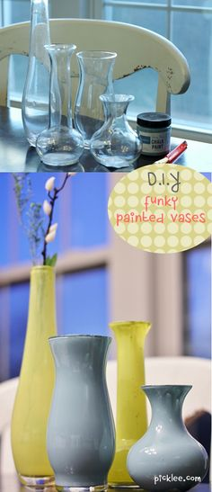 "$2 thrift shop vases, painted Anthropologie style!  Great ""How To"" DIY!"
