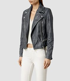 Women's Cargo Leather Biker Jacket (Black/Grey) - product_image_alt_text_2
