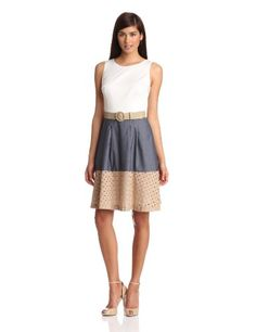 Nine West Dresses Women's Sleeveless with Eyelet Trim Dress, Ocean Combo, 2 Nine West,http://www.amazon.com/dp/B00AOGLRKC/ref=cm_sw_r_pi_dp_kUl2rb0TZJD8MRJ7