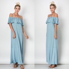 CLOSET CLEAR OUT Off The Shoulder Ruffle Slit Maxi PRADA BLUE. 69% Rayon 26% Polyester 5% Spandex. MADE IN THE USA. DO NOT PURCHASE THIS LISTING. Item is Brand New without tags by manufacturer. PRICE IS FIRM NO OFFERS!!!!! Dresses