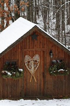 Rustic cabin at Christmas