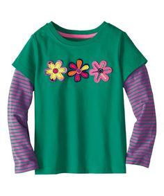 Look at this #zulilyfind! Pop Green & Purple Flower Layered Tee - Infant, Toddler & Girls #zulilyfinds