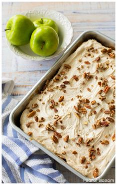This gorgeous make-ahead apple cake only needs one bowl! It's a perfectly easy cake recipe for a Thanksgiving dessert or any fall celebration. Top it with slightly nutty browned butter frosting and chopped pecans. Easy Baking Recipes, Easy Cake Recipes, Apple Recipes, Fall Recipes, Dessert Recipes, Baker Recipes, Party Recipes, Thanksgiving Desserts Easy, Thanksgiving Side Dishes