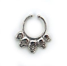 Fake-faux-Italy-Sterling-Skull-SILVER-SEPTUM-RING-ornate-nose-piercing-PALINA-26