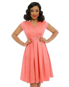 'Gilda' Coral Swing Dress - Sale