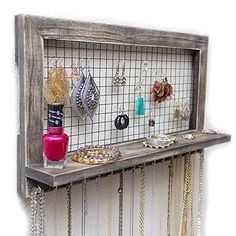 SoCal Buttercup Rustic Jewelry Organizer Wall Mounted - Wooden Wall Mount Display Holder for Earrings, Necklaces, Bracelets, Rings, and Many Other Accessories Diy Wand, Wall Organization, Jewelry Organization, Jewellery Storage, Jewellery Display, Necklace Storage, Mur Diy, Distressed Wood Wall, Wall Mount Jewelry Organizer